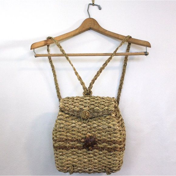Handbags - Handmade Straw Woven Basket Back Pack